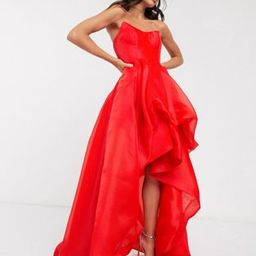 Bariano exclusive bandeau high low organza maxi dress in red   ASOS (Global)