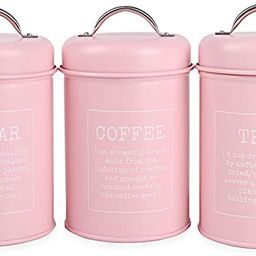 X021 Set of 3 Metal Food Storage Tin Canister/Jar with Lid (pink)   Amazon (CA)