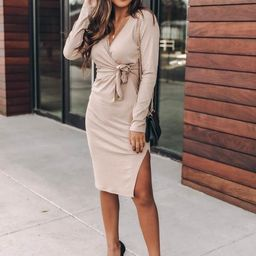 Daring Heart Ribbed Midi Taupe Dress   The Pink Lily Boutique