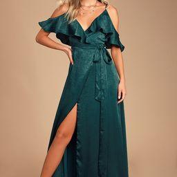 Moriah Emerald Green Satin Wrap Maxi Dress | Lulus (US)