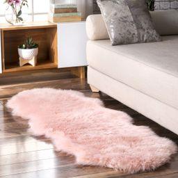 Blush Soft Solid Faux Sheepskin 2' x 6' Area Rug | Rugs USA