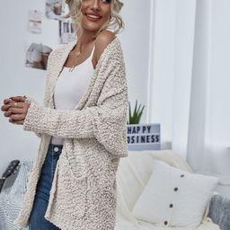 Open Front Popcorn Knit Cardigan | SHEIN