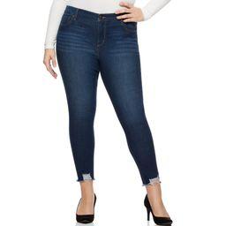 Sofia Jeans by Sofia Vergara Women's Plus Size Rosa Curvy Ripped Hem High-Waist Ankle Jean | Walmart (US)