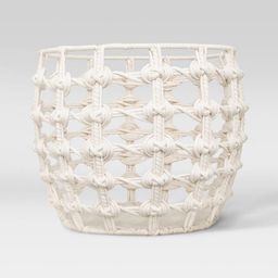 """15"""" x 12"""" Macrame Basket in Cotton Poly Rope White - Opalhouse™   Target"""