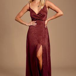 Constantine Burgundy Satin Maxi Dress | Lulus (US)