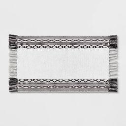 "20""x32"" Striped Fringe Bath Rug Black/White - Threshold™ | Target"