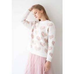 Fuzzy Pink Heart Pearl Trim Knit Sweater | Chicwish