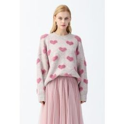 Contrast Color Fuzzy Hearts Knit Sweater | Chicwish
