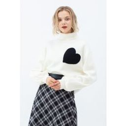 Embroidered Heart High Neck Knit Sweater in Ivory | Chicwish