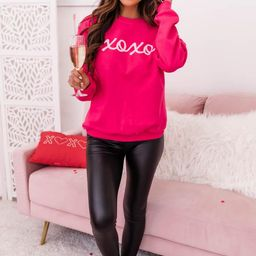 XOXO Script Hot Pink Graphic Sweatshirt | The Pink Lily Boutique