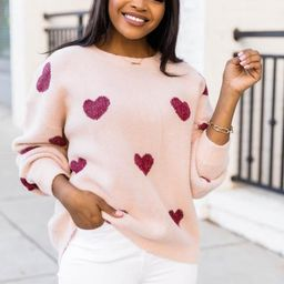 Serendipity Love Fuzzy Heart Pink Sweater | The Pink Lily Boutique