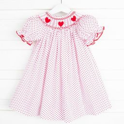 Heart Smocked Bishop Red Dot   Smocked Auctions