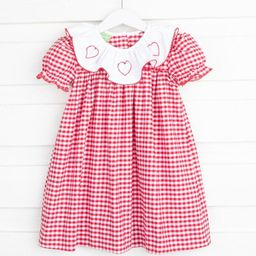 Heart Embroidered Holly Dress Red Check   Smocked Auctions