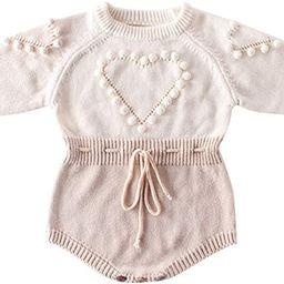 bebeshopdelageyhu Newborn Baby Girl Sweater Romper Ruffle Sleeve Cotton Knitted Bodysuit Fall Win...   Amazon (US)