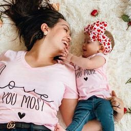 Love you more, love you most, mommy and me, matching shirts, matching outfits, besties,mom and ba...   Etsy (US)