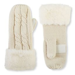 Women's isotoner Lined Cable Knit Mittens with Faux Fur Cuff, Natural   Kohl's