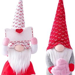 2PCS Valentines Day Gnome Decorations,Handmade Elf Plush Doll,Mr and Mrs Scandinavian Tomte for V... | Amazon (US)