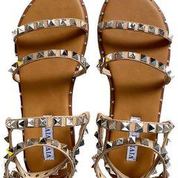 'Hadley' Studded Strap Tan Sandals | Goodnight Macaroon