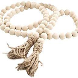 Farmhouse Beads 58in Wood Bead Garland with Tassels Rustic Country Decor Prayer Boho Beads Big Wa...   Amazon (US)
