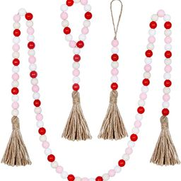 BlueMake 3 Pack Valentine's Day Wood Bead Garland with Tassel,Rustic Wooden Bead Decor Farmhouse ... | Amazon (US)
