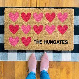 Pink Hearts Doormat/Welcome Mat/Personalized Doormat/Home | Etsy | Etsy (US)