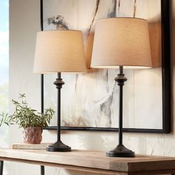 360 Lighting Modern Buffet Table Lamps Set of 2 Bronze Metal Oatmeal Fabric Drum Shade for Dining... | Walmart (US)