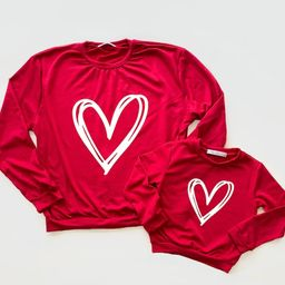 Red heart  Mama & Mini matching sweatshirt  mommy and me    Etsy   Etsy (US)