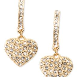 Gold-Tone Pavé Heart Drop Earrings, Created for Macy's | Macys (US)