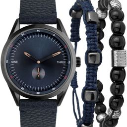 I.N.C. Men's Faux Blue Leather Strap Watch 33mm Gift Set, Created for Macy's   Macys (US)