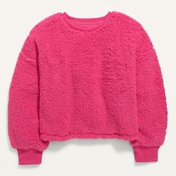Slouchy Sherpa Cropped Pullover for Girls   Old Navy (US)