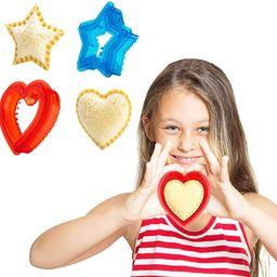 Sandwich Cutter and Sealer for Kids - Heart Shape Cookie Cutter & Star Shape Decruster Sandwich M... | Amazon (US)