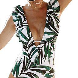 Women One Piece Swimsuit V-Neck Ruffle Bathing Suit Padded Monokini | Amazon (US)