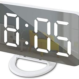 GLOUE Alarm Clock with USB Charger, Digital Alarm Clocks for Bedrooms, Large Mirror Surface, Easy... | Amazon (US)