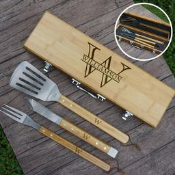 Personalized BBQ Tool Set Engraved with Overlapping Monogram | Etsy | Etsy (US)