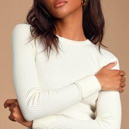 Karlee Ivory Ribbed Knit Long Sleeve Sweater Top   Lulus (US)