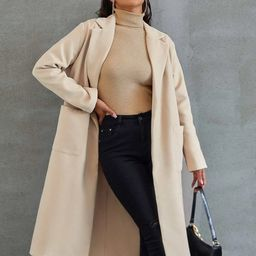 Notched Collar Pocket Side Overcoat   SHEIN