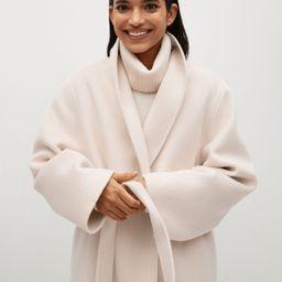 Woolen coat with belt   MANGO (US)