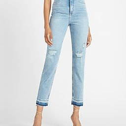 Super High Waisted Ripped Released Hem Straight Jeans   Express