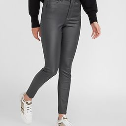 High Waisted Gray Coated Skinny Jeans   Express