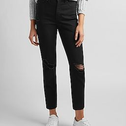 High Waisted Black Ripped Mom Jeans   Express
