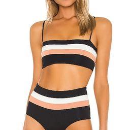 Rebel Stripe Bikini Top in Black, Cream & Chestnut | Revolve Clothing (Global)