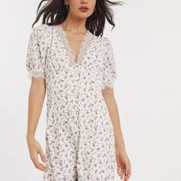 Fashion Union mini dress with puff sleeve and lace trim in ditsy floral print | ASOS (Global)