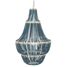Metal Chandelier with Wood Beads - Blue-Washed | Overstock