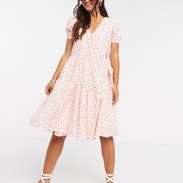 Daisy Street midi wrap dress with tiered skirt in pretty floral | ASOS (Global)