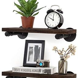 Mkono Floating Shelves with Industrial Pipe Brackets Rustic Farmhouse Shelf Set of 2, Wall Mounte... | Amazon (US)