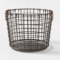Wire Round Basket Copper Handle With Mesh Bottom Pewter - Threshold™   Target