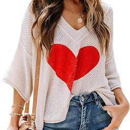 Ermonn Womens Cute Heart Sweater V Neck Crochet Knit Off Shoulder 3/4 Sleeve Pullover Tops Shirts | Amazon (US)