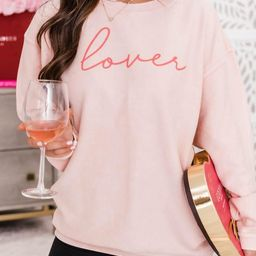 Lover Script Pink Corded Graphic Sweatshirt | The Pink Lily Boutique