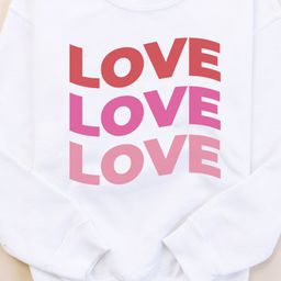 Love Ombre Wave White Kids Graphic Sweatshirt | The Pink Lily Boutique