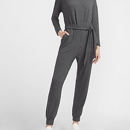 Cozy Belted Long Sleeve Lounge Jumpsuit | Express